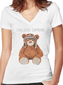 Gambino Bear Women's Fitted V-Neck T-Shirt