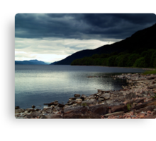 Overcast At Loch End, Scotland. Canvas Print