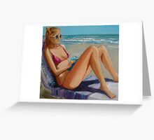 Julia ..... reading.... relaxing...... on the Beach Greeting Card