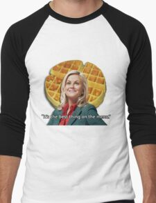 Leslie Knope Loves Waffles Men's Baseball ¾ T-Shirt