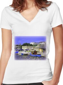 Bude Harbour Women's Fitted V-Neck T-Shirt