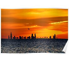 Flying Over the Chicago Skyline at Sunset Poster