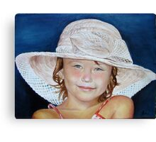 Little girl with hat Canvas Print