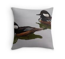 Hooded Merganser Duck Reflection Throw Pillow