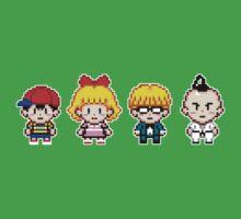 Earthbound Pixels - Ness, Paula, Jeff & Poo Kids Tee