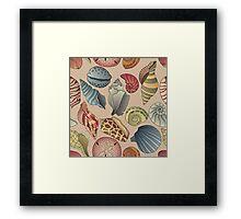 Vintage Seashell Pattern Seamless Framed Print