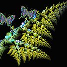 Fern leaf with butterflies by walstraasart
