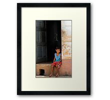 Cuban boy sitting on door step, Trinidad, Cuba Framed Print