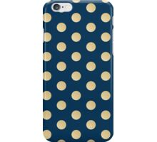 Blue on gold polka dots iPhone Case/Skin