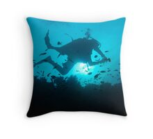 Diver Silhouetted on Reef - Cuyo Island Philippines Throw Pillow