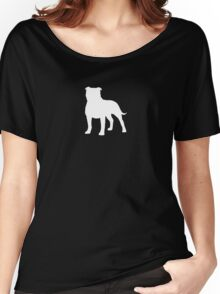 Staffordshire Bull Terrier Silhouette (White) Women's Relaxed Fit T-Shirt