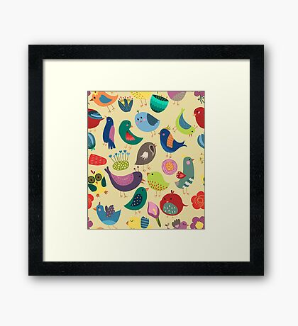 Cute Vintage Birds Seamless Pattern Framed Print