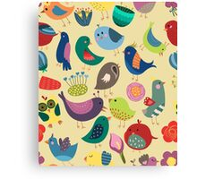 Cute Vintage Birds Seamless Pattern Canvas Print