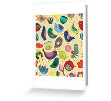 Cute Vintage Birds Seamless Pattern Greeting Card