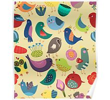 Cute Vintage Birds Seamless Pattern Poster