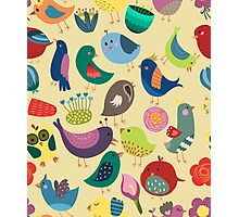 Cute Vintage Birds Seamless Pattern Photographic Print