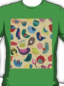 Cute Vintage Birds Seamless Pattern T-Shirt