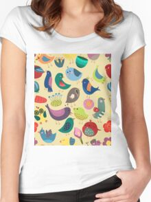 Cute Vintage Birds Seamless Pattern Women's Fitted Scoop T-Shirt