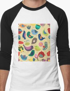 Cute Vintage Birds Seamless Pattern Men's Baseball ¾ T-Shirt