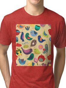 Cute Vintage Birds Seamless Pattern Tri-blend T-Shirt