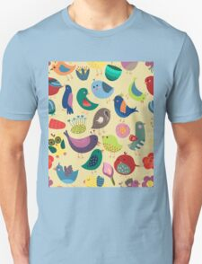 Cute Vintage Birds Seamless Pattern T-Shirt