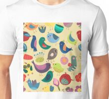 Cute Vintage Birds Seamless Pattern Unisex T-Shirt