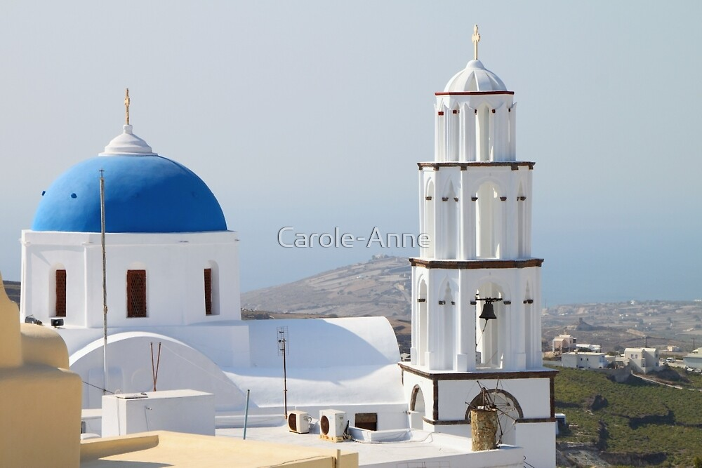 Church and Bell Tower, Pyrgos, Santorini by Carole-Anne