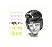 Happy Cat Happy Home Art Print