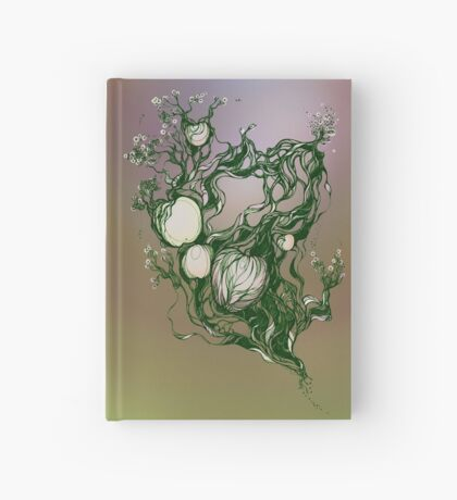 Garden paradise. Hand draw  ink and pen on textured paper Hardcover Journal