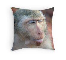 Wild monkey spitting Throw Pillow