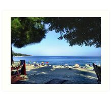 VIEW FROM MY BAR TABLE.THASSOS ,GREECE. Art Print