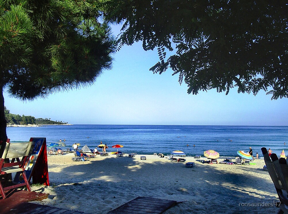 VIEW FROM MY BAR TABLE.THASSOS ,GREECE. by ronsaunders47