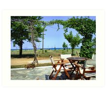 VIEW FROM MY BAR TABLE.THASSOS ,GREECE. 2 Art Print