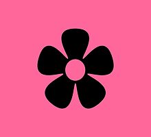 Black Flower / Pink Background by Louise Parton