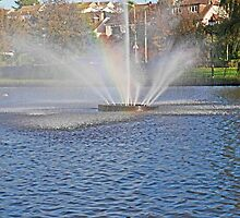 Water fountain Trenance Lake Newquay Cornwall by Len  Pinner