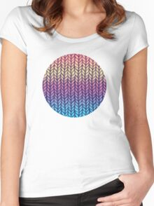 Rainbow Gradient Chunky Knit Pattern Women's Fitted Scoop T-Shirt
