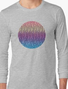 Rainbow Gradient Chunky Knit Pattern Long Sleeve T-Shirt