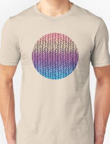 Rainbow Gradient Chunky Knit Pattern Unisex T-Shirt