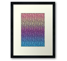 Rainbow Gradient Chunky Knit Pattern Framed Print