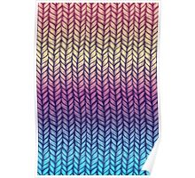 Rainbow Gradient Chunky Knit Pattern Poster