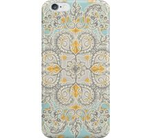 Gypsy Floral in Soft Neutrals, Grey & Yellow on Sage iPhone Case/Skin