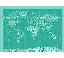 World Map landmarks 7 Photographic Print