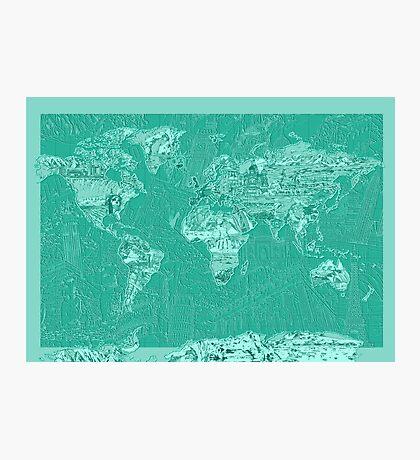 World Map landmarks 7 Photographic Print