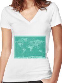 World Map landmarks 7 Women's Fitted V-Neck T-Shirt