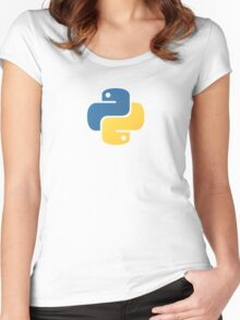 Python Logo Tile Print Women's Fitted Scoop T-Shirt