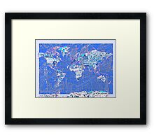 World Map landmarks 8 Framed Print