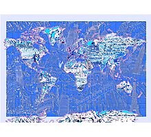 World Map landmarks 8 Photographic Print