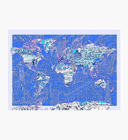 World Map landmarks 8 Photographic Print