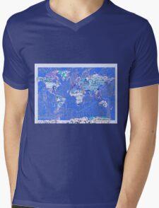 World Map landmarks 8 Mens V-Neck T-Shirt