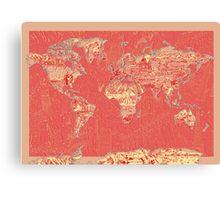 World Map landmarks 9 Canvas Print